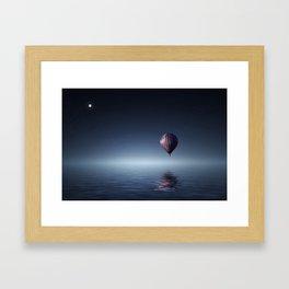 Hot Air Balloon Over Water Framed Art Print