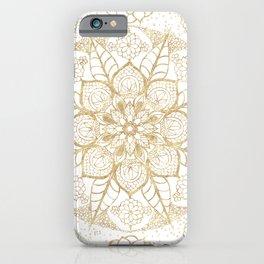 Stylish boho hand drawn golden mandala iPhone Case