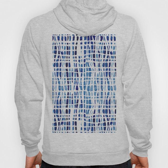 Shibori Braid Vivid Indigo Blue and White Hoody