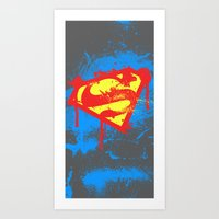 superheros Art Prints featuring Super S by Sophie Rousseau
