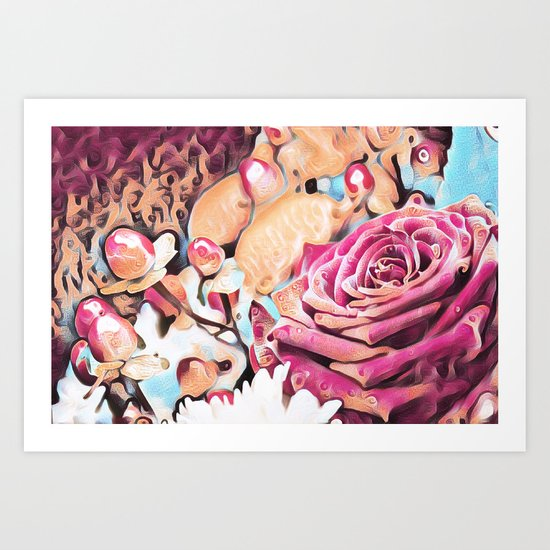 Textured illustration with rose and berries Art Print
