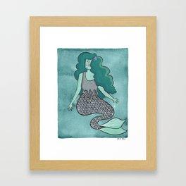 Green Mermaid Framed Art Print