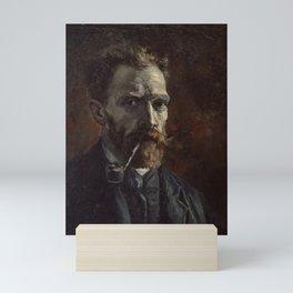 Vincent van Gogh - Self-portrait with pipe Mini Art Print