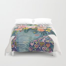Elephant with flowers on head Duvet Cover
