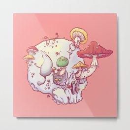 Skull No.1 // The Mushrooms One Metal Print