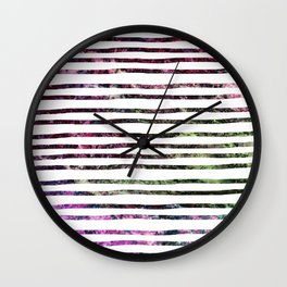 Dark Abalone Marble Stripes Wall Clock