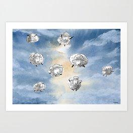 Digital Sheep in a Watercolor Sky Art Print
