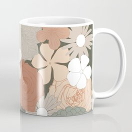 Retro Floral Wallpaper Design - Green Earthy Fall Colours Coffee Mug