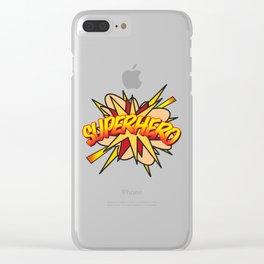 Comic Book Pop Art SUPERHERO Clear iPhone Case