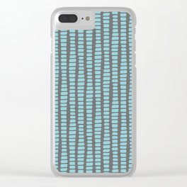 Ocean blue and grey charcoal geometric striped pattern Clear iPhone Case