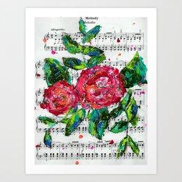 Melody - Floral - Piano notes Art Print