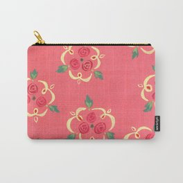 Red and Yellow Rose Motif Carry-All Pouch