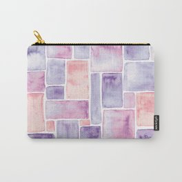 Watercolour Mosaic Pattern   Peach and Purple Carry-All Pouch