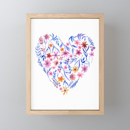 Watercolor Floral Heart Love Framed Mini Art Print
