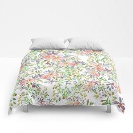 Blooming garden watercolor Comforters