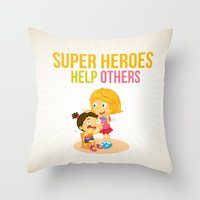 super heroes Throw Pillows featuring Super Heroes Help Others by youngmindz