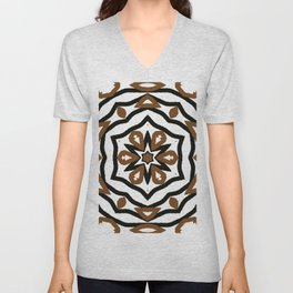 Black and Brown Star and Flower Pattern Design Unisex V-Neck