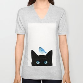 Cat and Bird Unisex V-Neck