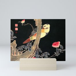 Parrot on the Branch of a flowering Rose Bush - Japanese Vintage Woodblock Painting Mini Art Print