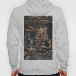 The Library In The Palais Dumba 1877 by Rudolf von Alt | Reproduction Hoody