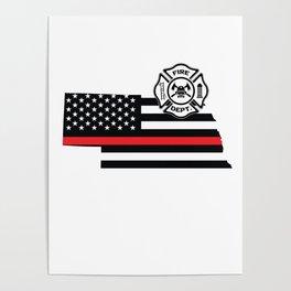 Nebraska Firefighter Shield Thin Red Line Flag Poster
