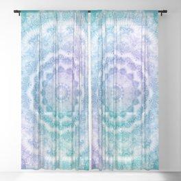 White Mandala on Teal, Purple and Navy Sheer Curtain