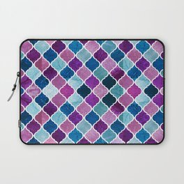 Watercolor Purple and Blue Trellis Pattern Laptop Sleeve