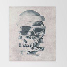 Glitch Skull Mono Throw Blanket