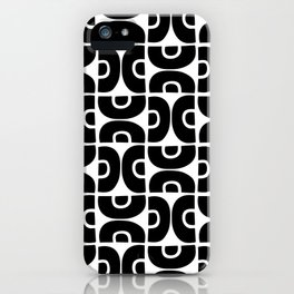 Groovy Mid Century Modern Pattern Black and White iPhone Case