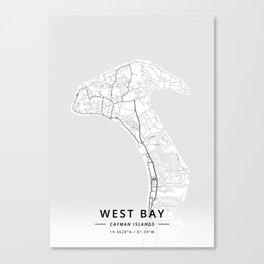 West Bay, Cayman Islands - Light Map Canvas Print