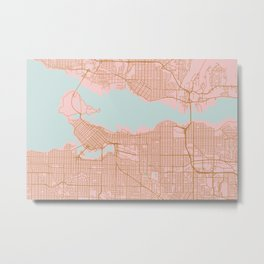 Pink and gold Vancouver map, Canada Metal Print