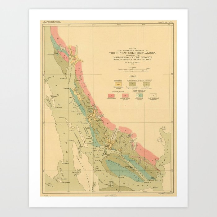 Vintage Geological Map of Juneau Alaska (1912) Art Print by bravuramedia