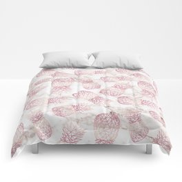 Geometric rose gold pineapples marble pattern Comforters