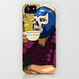 Blue Demon Luchador Coffee Break iPhone Case