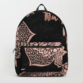 Modern rose gold handdrawn mandala quote namastay in bed Backpack