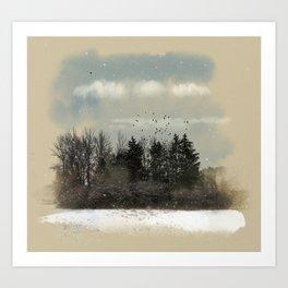 Winter, snow, frosty day. Art Print