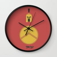 movie poster Wall Clocks featuring 300 Minimalist Movie Poster by Stefanoreves