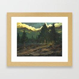into dark forest Framed Art Print