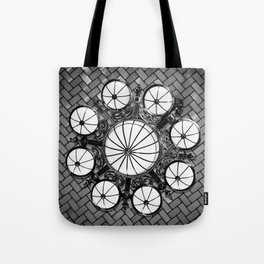 Black and White Ellis Island Chandelier - New York Tote Bag