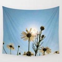 daisies Wall Tapestries featuring Daisies by Marianna Mills