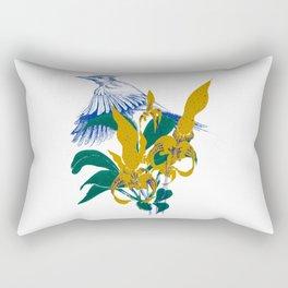 Midnight blooms - Asian paradise fly catcher bird Rectangular Pillow