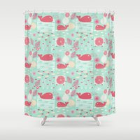 whales Shower Curtains featuring Whales by Bexie Doodles
