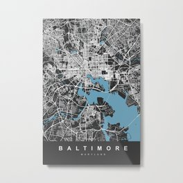 BALTIMORE Map Maryland   Black & Blue   More Colors, Review My Collections Metal Print
