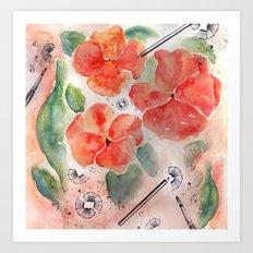 Orange Pansies Art Print