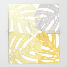 Yellow tropical leaves Throw Blanket