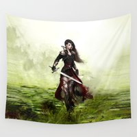 knight Wall Tapestries featuring Lady knight by milyKnight