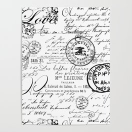 Vintage handwriting black and white Poster