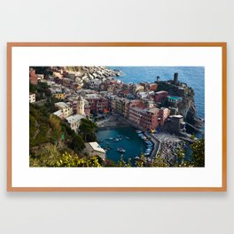 Colourful Fishing Village Framed Art Print