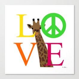 Peace love giraffe Canvas Print