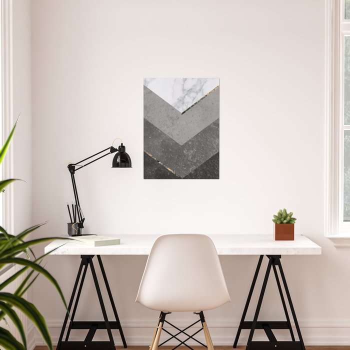 Marble Gray Copper Black Gold Chevron Poster